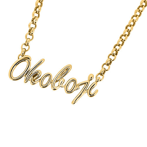 "Yellow Gold ""Okoboji"" Script Necklace"