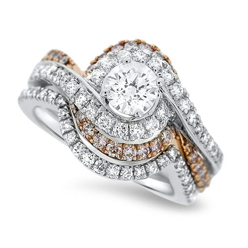 White and Rose Gold Swirl Diamond Wedding Set