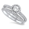 Low Profile Brilliant Cut Diamond Wed Set