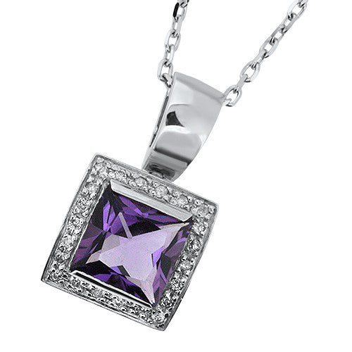 Amethyst Princess Cut Pendant