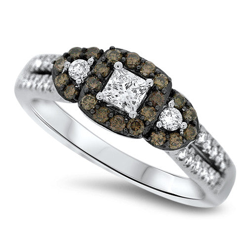 White & Chocolate Diamond Ring