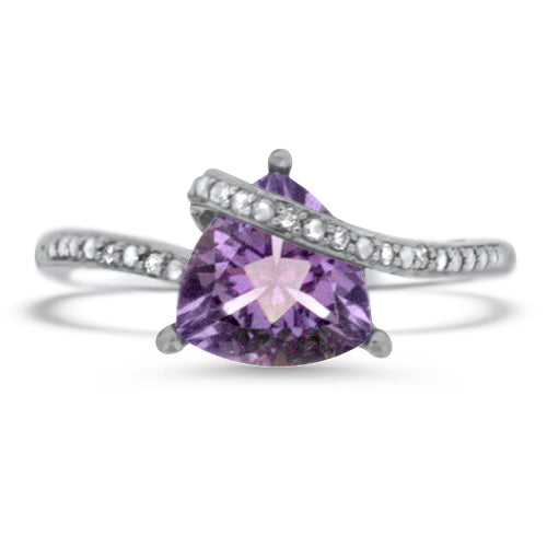 Amethyst & Diamond Cross Over Ring