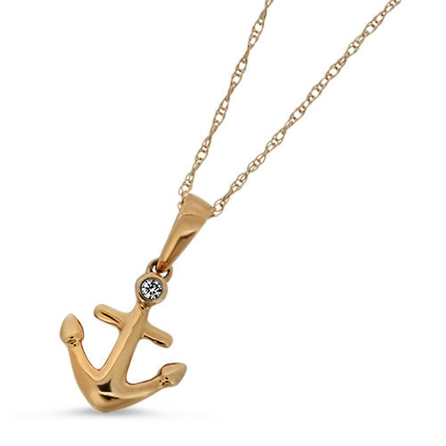 Rose Gold Anchor Diamond Pendant