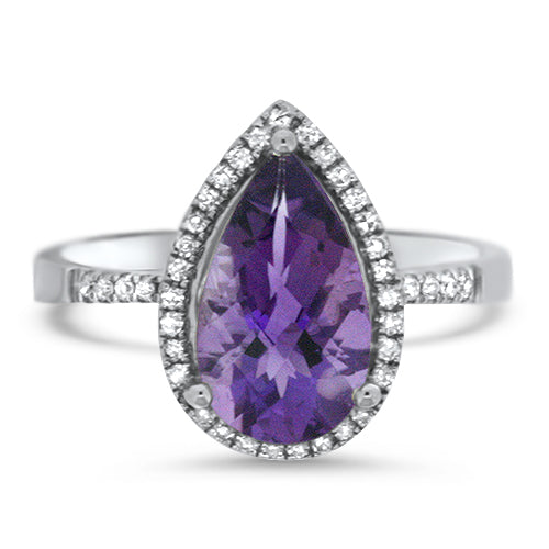 Pear Cut Amethyst Ring with Diamond Halo