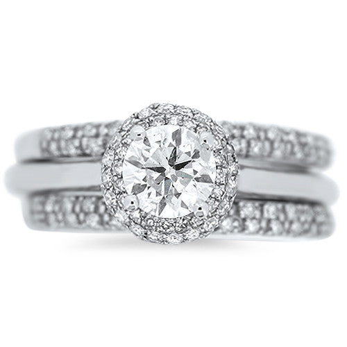 Round Pave Halo Engagement Ring