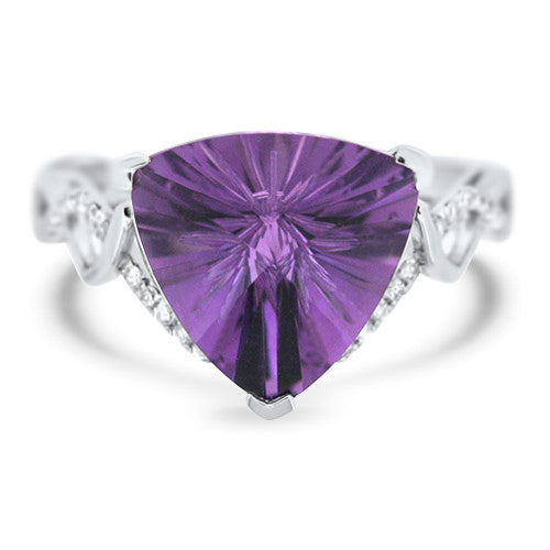 Unique Trillon Cut Amethyst Ring