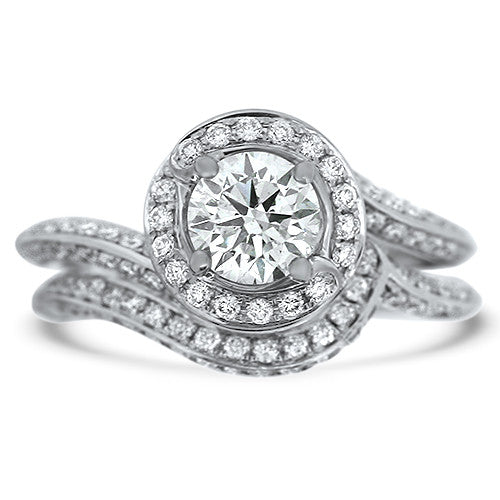 Tulip Halo Diamond Wedding Set
