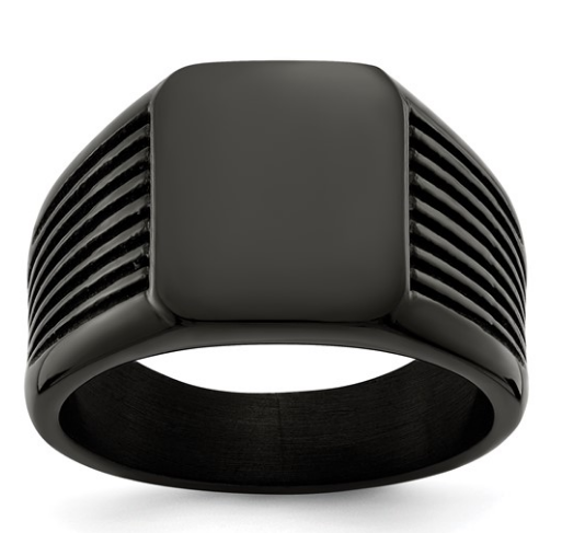 Stainless Steel Polished Black Signet Ring