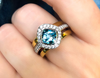Gorgoeus Blue Topaz Two-Tone Ring