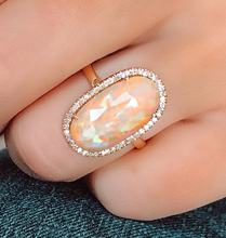 Load image into Gallery viewer, Rose Gold Opal & Diamond Ring