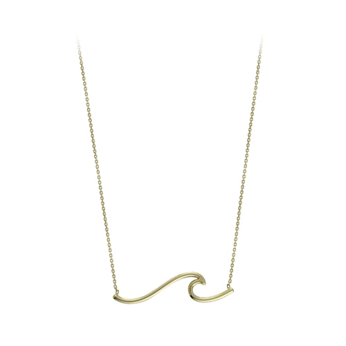 Adorable Yellow Gold Wave Necklace