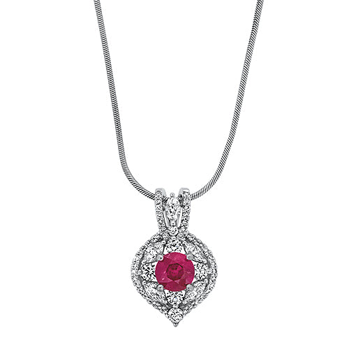 14KW Ruby & Diamond Pendant
