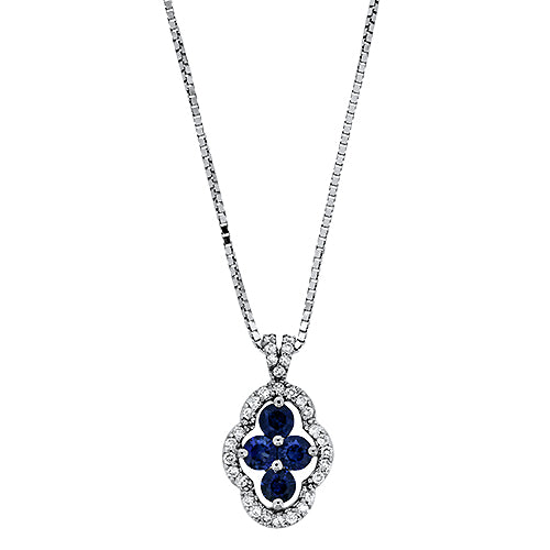 Charming .88CT Sapphire and Diamond Pendant