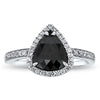 1.05CTR Dark as Night Pear Diamond Ring