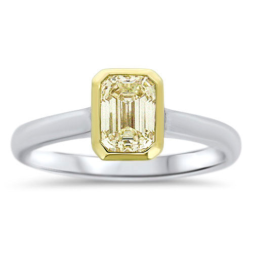 1.02CTTW Emerald-Cut Yellow Diamond Ring