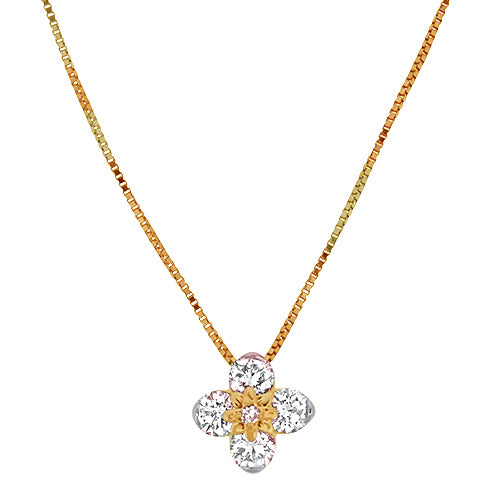 Rose Gold Flower Diamond Pendant