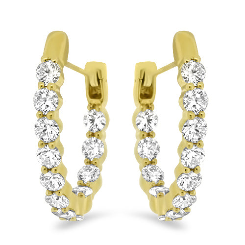Yellow Gold Inside-Outside Diamond Hoops