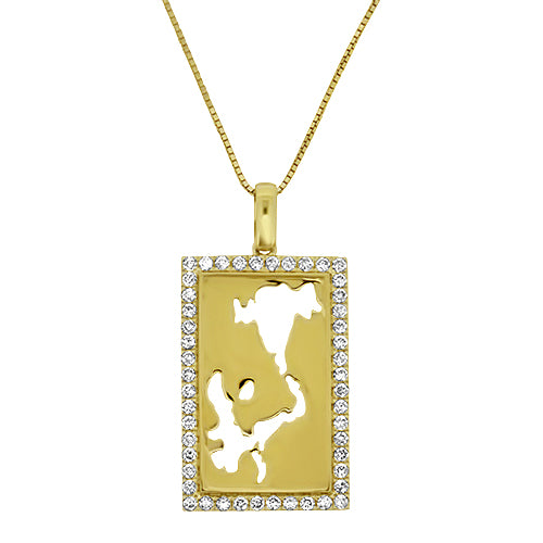 Great Lakes Yellow or White Gold & Diamond Pendant