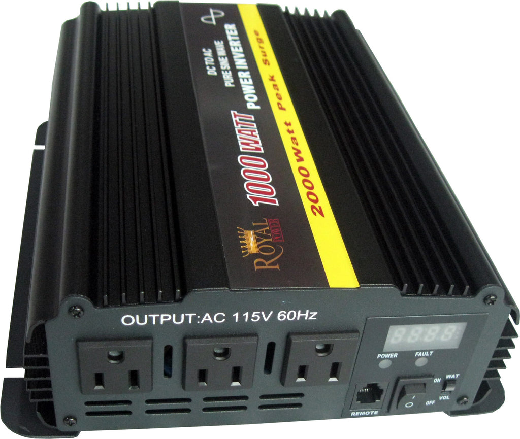 Pure Sine 1000 Watt Power Inverter 12 Volt DC to 120V AC