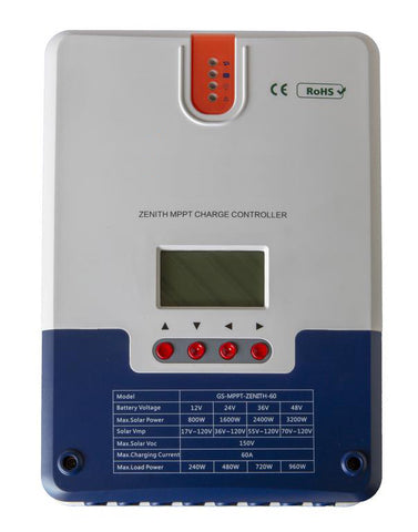 Zenith 12/24/36/48-Volt 60 Amp MPPT Solar Charge Controller