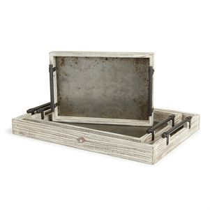 Wood and Galvanized Tray