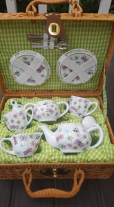 Cute Small Child Play Tea Sets W/Decorative Lined Basket Saucers Cups Teapot Utensils
