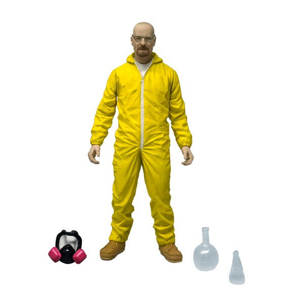 Breaking Bad Walter White Heisenberg Yellow Hazmat Figure Mezco Toyz Blue Meth Figure