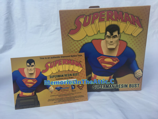 "DC Superhero Superman Animated Resin Bust Varner Studios Limited 3000 6"" Tall"