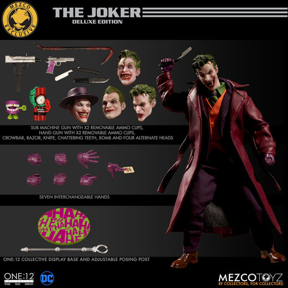 Mezco Toyz One:12 Exclusive Deluxe Edition Joker Action Figure 4 Heads 1:12 DC Comics 112