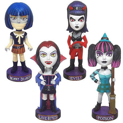 Halloween Complete Set of 4 Classic Favorites Gothic Girls Bobbleheads Vampire Mummy Witch Devil