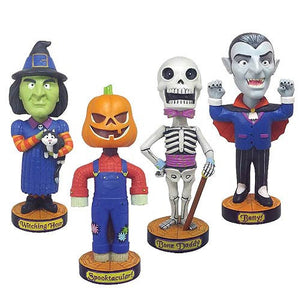 Halloween Complete Set of 4 Classic Favorites Bobbleheads Pumpkin Skeleton Witch Jack O Lanter