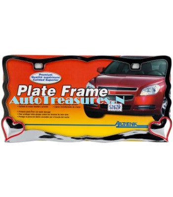 Chrome Red 2 Hearts Car Metal License Plate Girls Lady Frame US Truck Auto Alpena