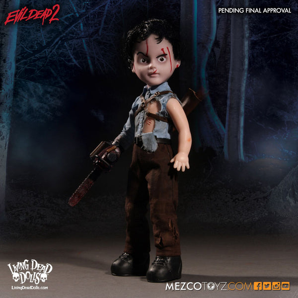 "Living Dead Mezco Evil Dead 2 Ash 10"" Doll with Chainsaw"