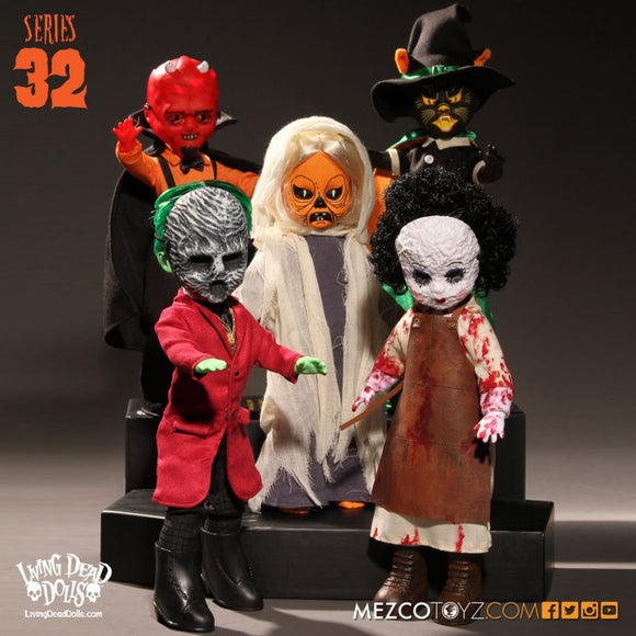 Living Dead Mezco Series 32 Set Devil Demon Ghost Cat Witch Skeletal Ghoul Halloween Dolls LDD