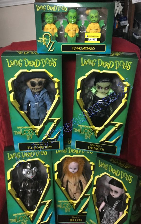 11 Living Dead Dolls The Wizard Of Oz Set Dorothy Tin Man Lion Scarecrow Witch Monkeys Munch-Kins LDD