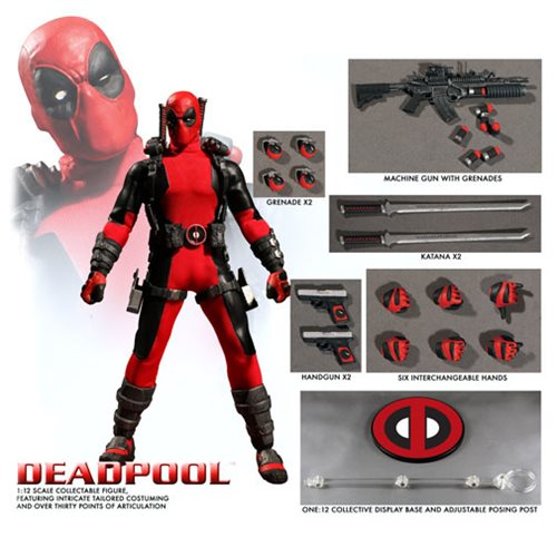 Mezco Deadpool Red One:12 Wade Winston Wilson Quality Action Figure Guns 2 Heads 112