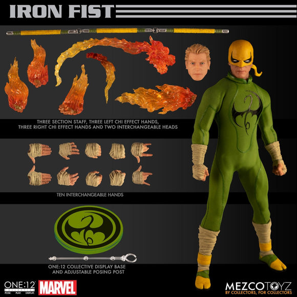 Mezco One:12 Collective Collector Marvel Iron Fist with Flames 2 Heads Action Figures 112