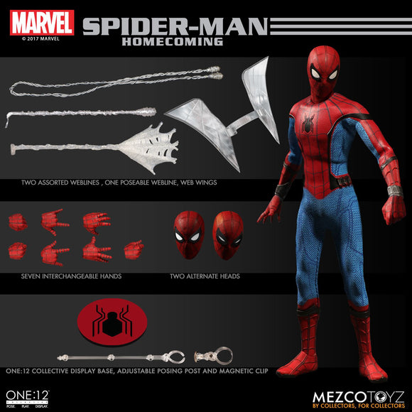 Mezco One:12 1:12 Marvel Comics Spiderman Homecoming Quality Action Figure 2 Heads 112