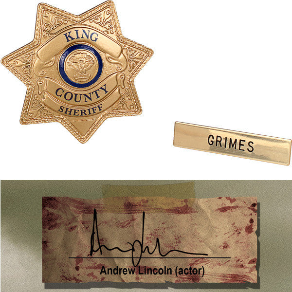 AMC The Walking Dead Rick Grimes TV Show Prop Badge Zombie Display Box Signature