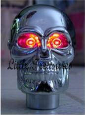 Skull Head Red Lighted Eyes Shift Knob Car Truck Shifter Tribal Light Hearse LED