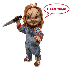 "15"" Childs Play Mega Scale Chucky Mezco Scarred Face Talking Doll Jumbo Action"
