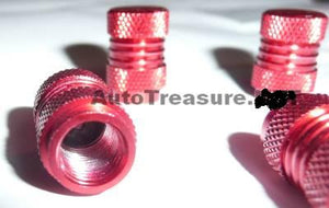 RED Metal Chrome 4 Tire Valve Stem Caps Car Truck Motorcycle Bicycle