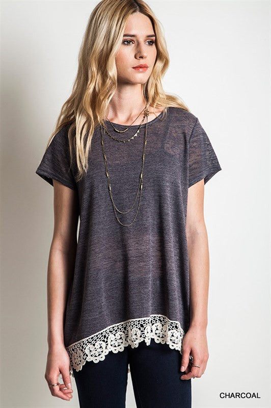 Lovely Lace Top- Charcoal