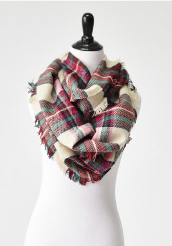 Plaid Infinity Scarf (Multiple Colors)