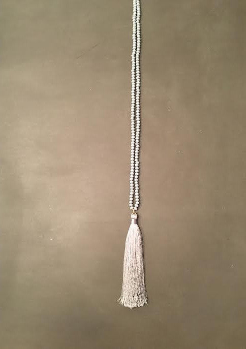 Silver Beaded Tassel Necklace