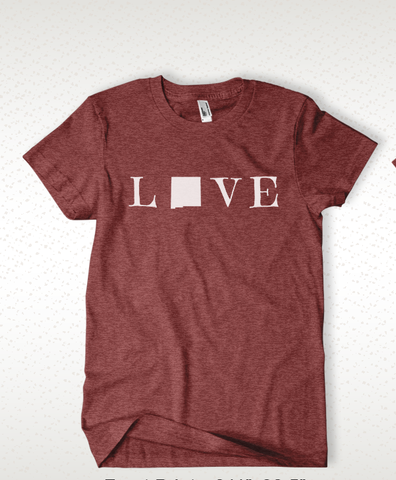 Love New Mexico Tee- Maroon