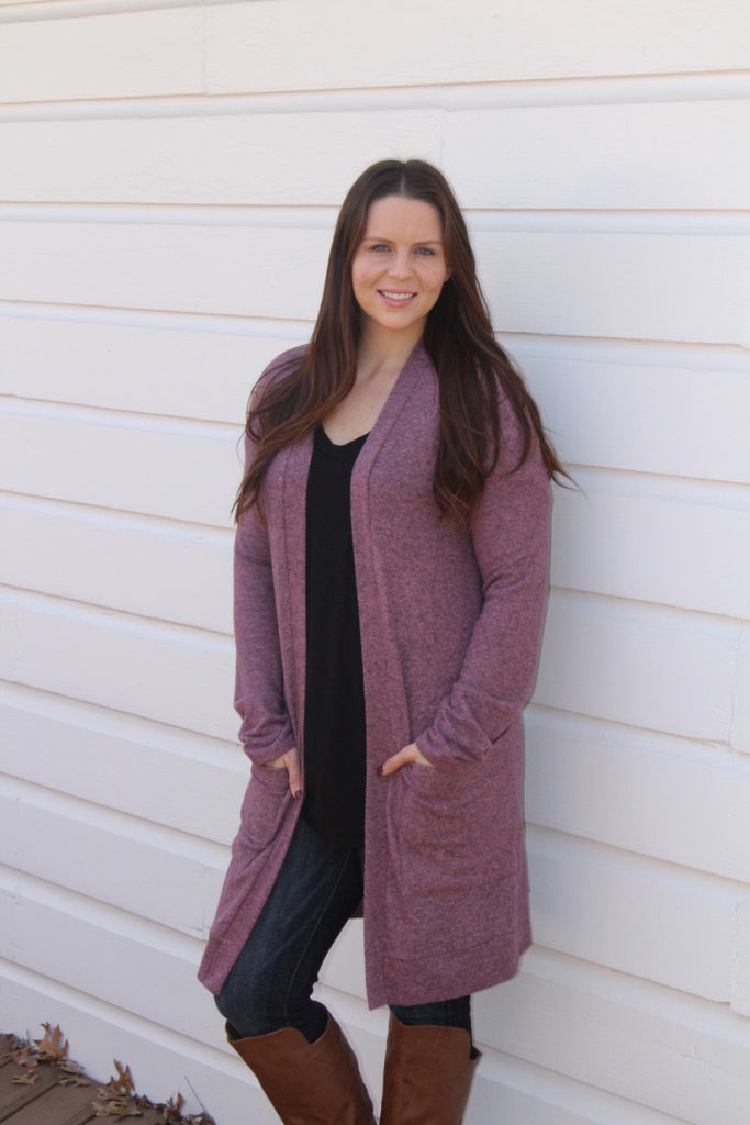 Heather Cardigan- Purple