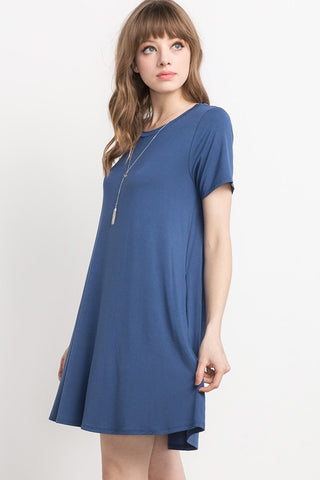 Bamboo Tshirt Dress- Light Navy