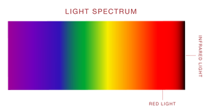 A rainbow colored light spectrum labeling red light nearest to infrared light at the highest on the spectrum.