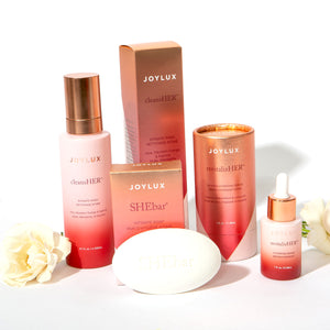 Suite of intimate care products for feminine intimate care from Joylux
